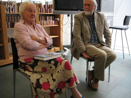 Professor Judd talking with Susan Dickinson, who was Alison's editor for many years.