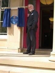 Denis Judd unveils the new Blue Plaque at Ashburne Hall.